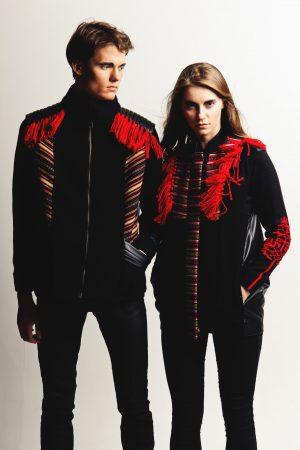 Unisex Imitation Leather And Woolen Gilet